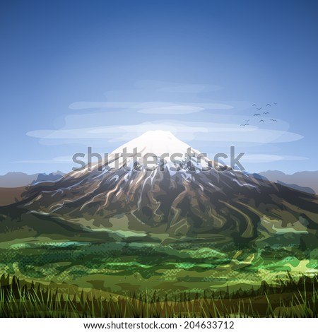 Snow covered cloudy mountain peak scenery  - stock photo