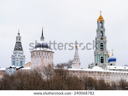 Snow-covered domes of Holy Trinity-Sergius Lavra in winter time. Sergiev Posad, Moscow region, Russia. Golden Ring of Russia - stock photo