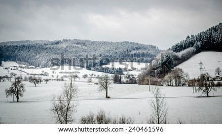 Snow covered fields in the Black Forest - stock photo
