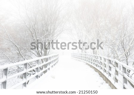 Snow covered footbridge on a foggy winter day - stock photo