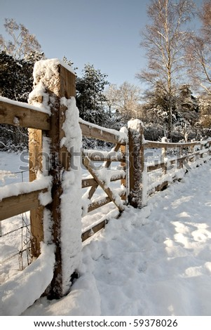 Snow covered gate - stock photo