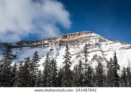 Snow covered mesa in the southwest US; Durango, Colorado - stock photo