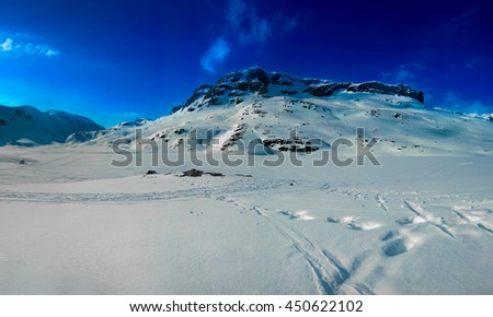 Snow covered mountain - stock photo