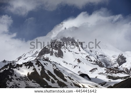 Snow Covered Mountain Kazbek Georgia  Europe  Caucasus Mountains