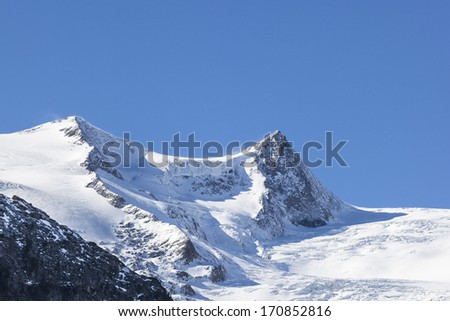 Snow covered mountain peak and a glacier