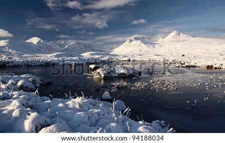 Snow covered mountain scenery and loch - stock photo