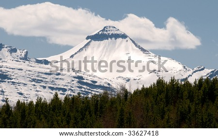 Snow covered mountains in Kananaskis area, Alberta Canada