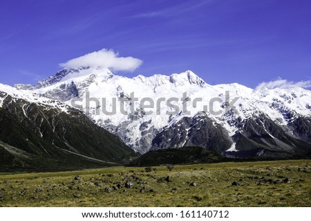 Snow covered mountains in New Zealand