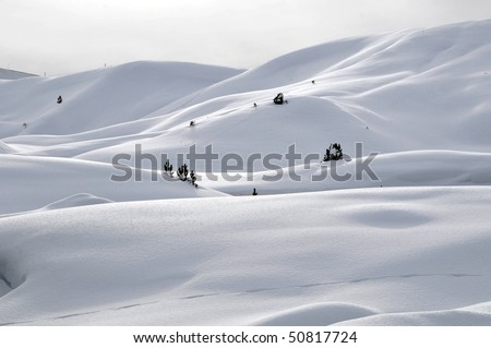 Snow-covered mountains in winter, Dolomites, South Tyrol, Alps, Italy - stock photo