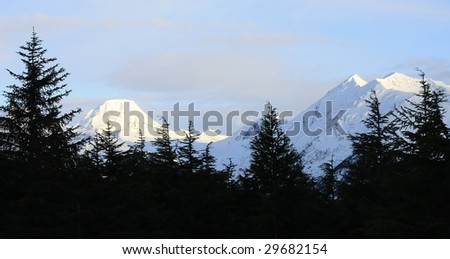 Snow covered mountains with trees - stock photo