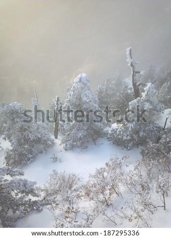 Snow covered peak of Sandia Mountains in Albuquerque, New Mexico - stock photo