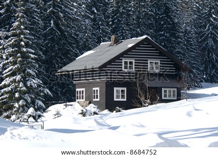Snow-covered ski resort house in the firry forest in the Czech mountains - stock photo