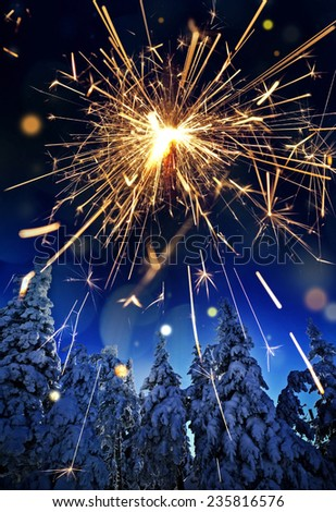 snow covered spruce trees and sparkler - christmas - stock photo