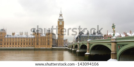 Snow Covered Westminster seen from South Bank - stock photo