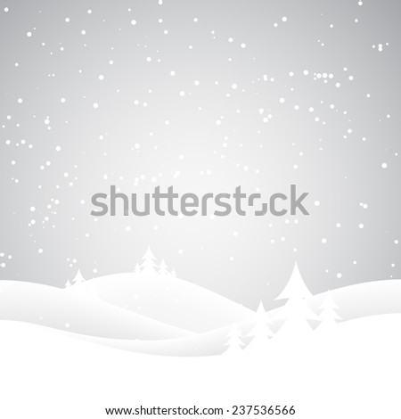 Snow covered wintery scene.Snow falling over a fir tree forest - stock photo