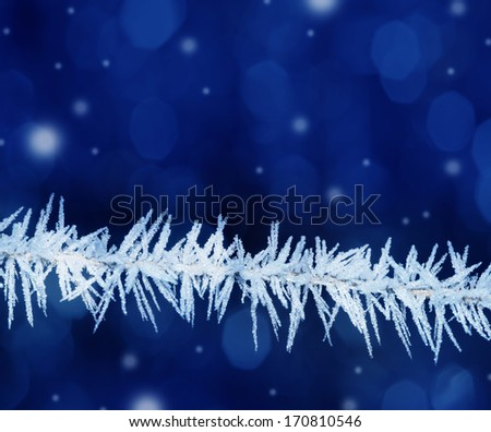 snow crystals on a grass - stock photo