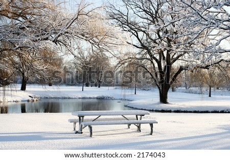 snow day on the park - stock photo