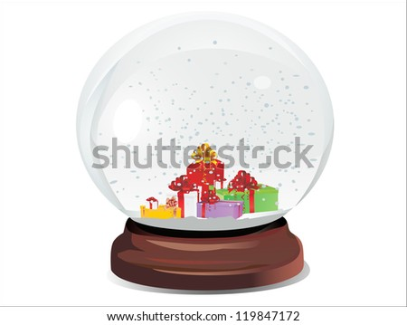 snow dome filed with presents and snowflakes over white background Raster version, vector file id:118958623 - stock photo