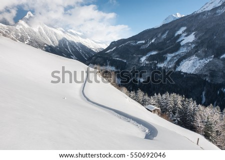 Snow drifts and fresh snow in the Alps