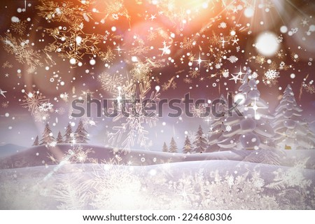 Snow falling against cream snow flake pattern design - stock photo