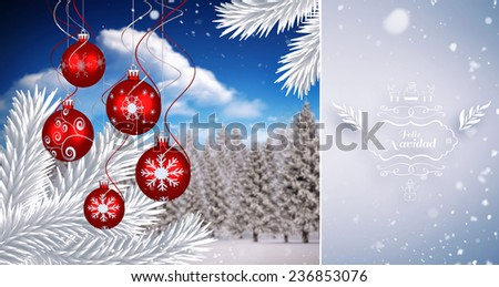 Snow falling against digital hanging christmas bauble decoration - stock photo