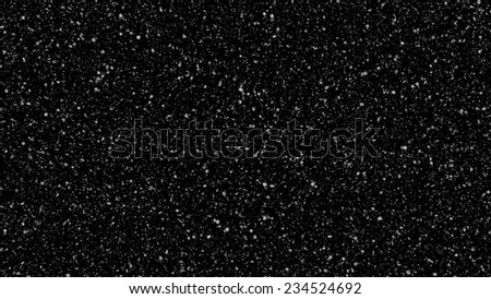 snow falling - lots of realistic detailed 3d snowflakes on black background - stock photo