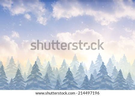 Snow falling on fir tree forest with copy space