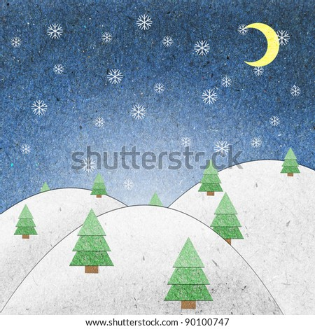 Snow field night recycle paper craft for background - stock photo