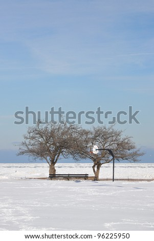 Snow filled Basketball hoop court with bare trees along Chicago Illinois  north side Michigan Lake Winter Scene - stock photo