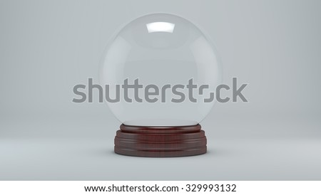 Snow glass ball on a gray background - stock photo