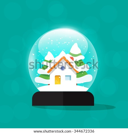 Snow globe house illustration, snowglobe home snowdrift, snowfall isolated, merry christmas snow globes with fir trees, new year tree and gift, flat modern design. - stock photo
