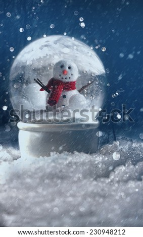 Snow globe in a snowy winter background - stock photo
