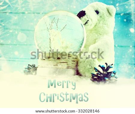 Snow globe in winter scene. - stock photo