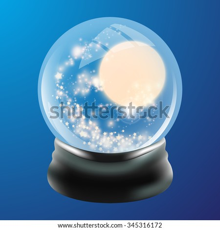 Snow globe template. Abstract shining stars. illustration