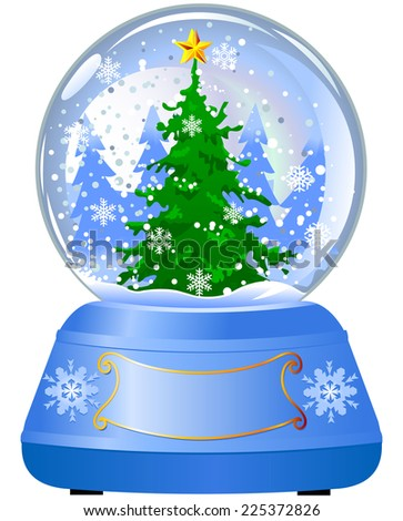 Snow globe with a Christmas tree inside  - stock photo