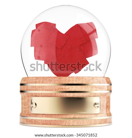 Snow globe with abstract heart inside isolated on white background. 3d render - stock photo
