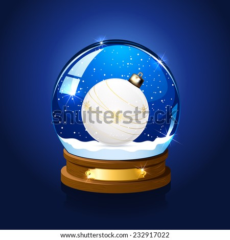 Snow globe with Christmas ball on blue background, illustration. - stock photo