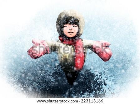 Snow hugging, Digital painting - stock photo