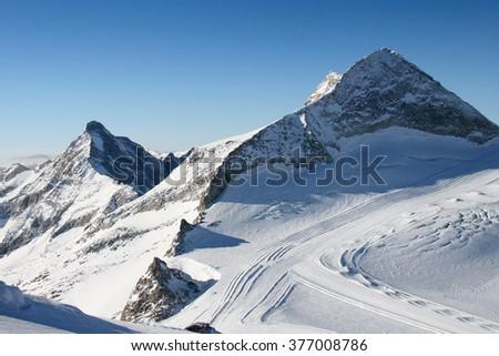 snow in mountains, Zillertal Hintertuxer Glacier- Austria, EU - stock photo