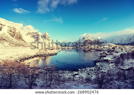 snow in Reine Village, Lofoten Islands, Norway - stock photo