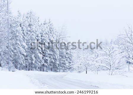 Snow landscape and road - stock photo