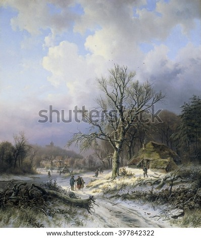 Snow Landscape, by Alexander Joseph Daiwaille, 1845, Dutch painting, oil on canvas. Townspeople socializing, carrying wood, and skating in a winter landscape. In the distance is a vender's stall flyin - stock photo