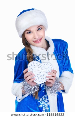 Snow-maiden holding in her hand gift