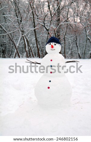 snow man standing close up - stock photo