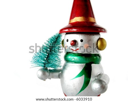 Snow man with a little christmas tree, isolated on white