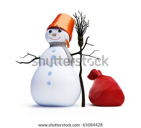 snow men red bag isolated on a white background - stock photo