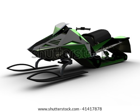 Snow mobile isolated on white - stock photo