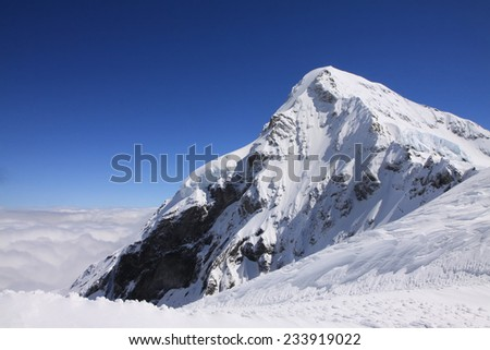 Snow mountain at Jungfraujoch, Switzerland - stock photo