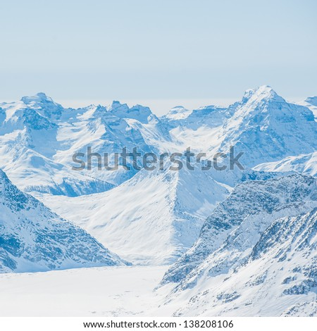 Snow Mountain Landscape with Blue Sky from Jungfrau Region - stock photo