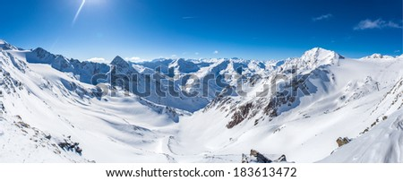 Snow mountain panorama, Stubaier Gletscher, Tyrol, Austria - stock photo